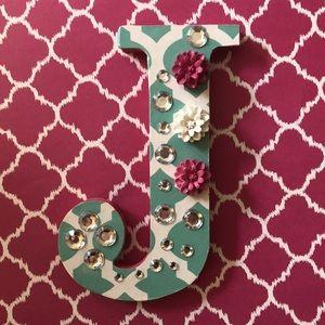Handcrafted wooden letter J